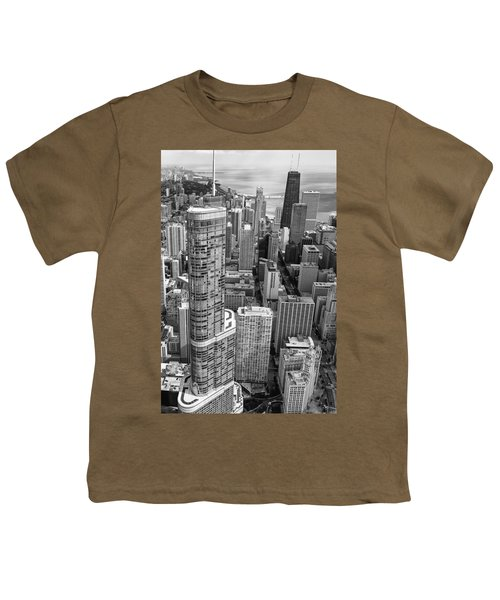 Trump Tower And John Hancock Aerial Black And White Youth T-Shirt