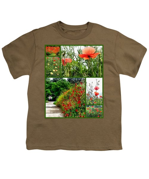 Umbrian Red Poppy Collage Youth T-Shirt