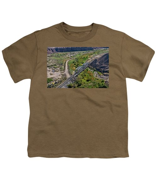 Youth T-Shirt featuring the photograph Up Tracks Cross The Mojave River by Jim Thompson