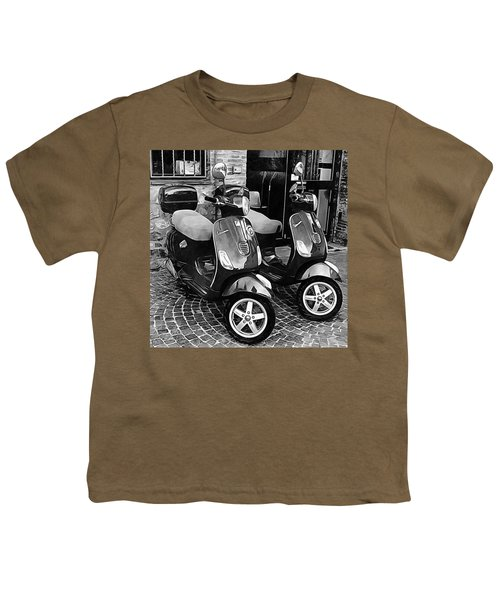 Vespa Twins Black And White Youth T-Shirt