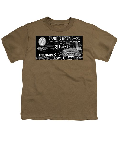Vintage Cloisters And Fort Tryon Park Poster Youth T-Shirt by Cole Thompson