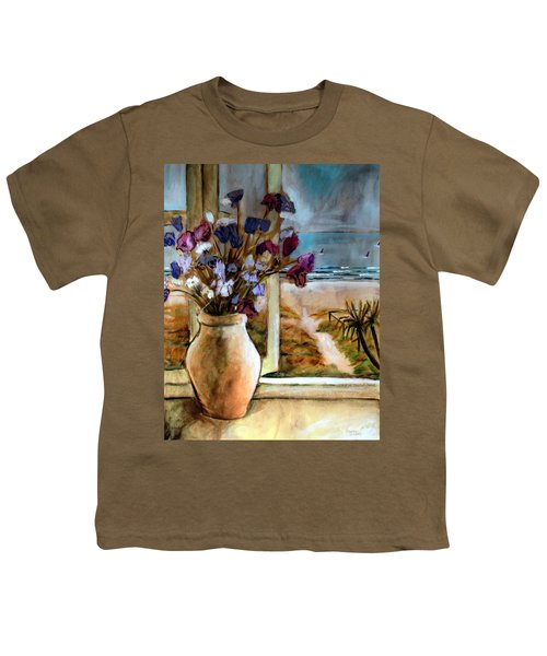 Violet Beach Flowers Youth T-Shirt by Winsome Gunning