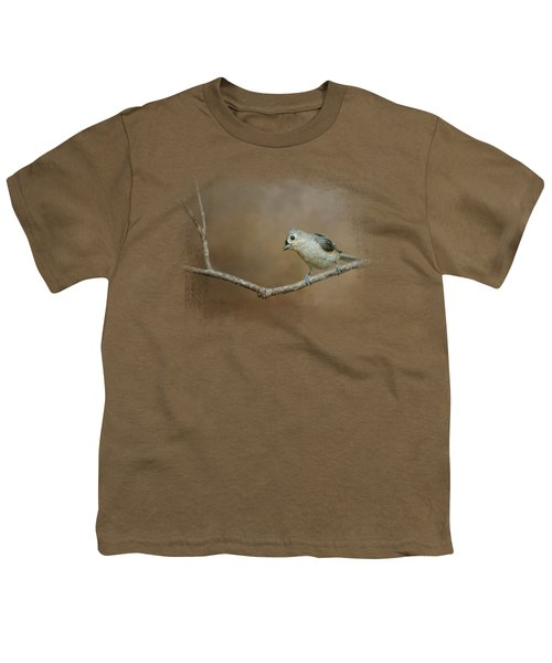 Visiting Tufted Titmouse Youth T-Shirt by Jai Johnson
