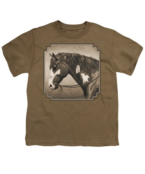 War Horse Aged Photo Fx Youth T-Shirt by Crista Forest