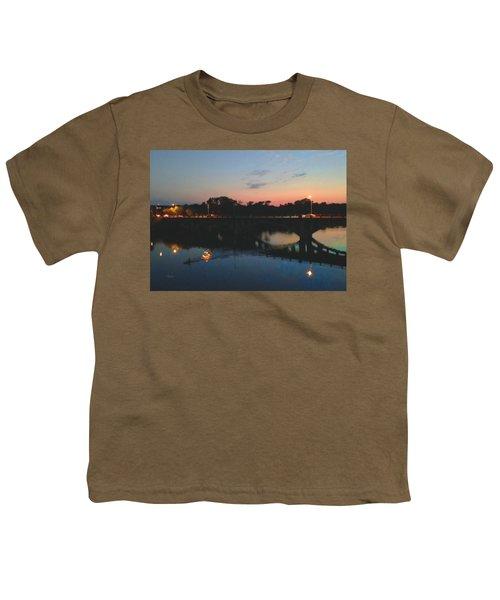 Watercolor Sunset Over Lamar Street Bridge Austin Texas Youth T-Shirt