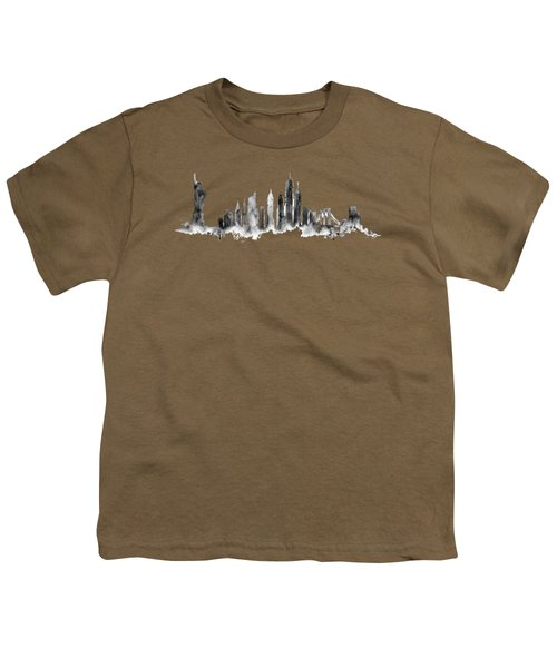 White New York Skyline Youth T-Shirt by Aloke Creative Store