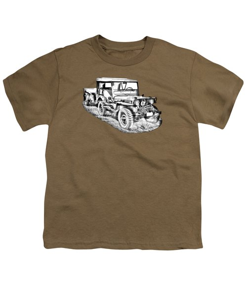 Willys World War Two Army Jeep Illustration Youth T-Shirt
