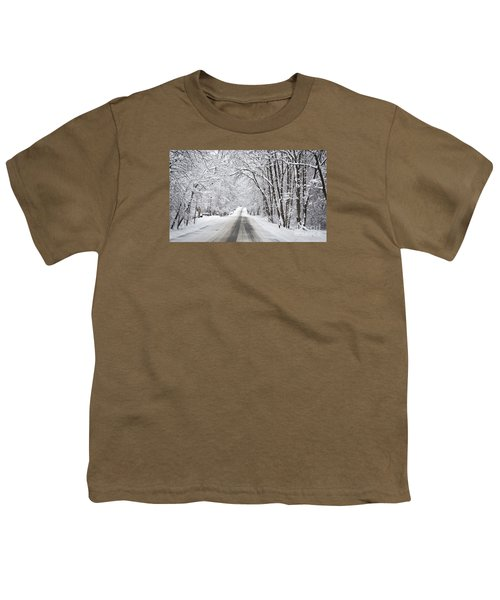 Winter Drive On Highway A Youth T-Shirt
