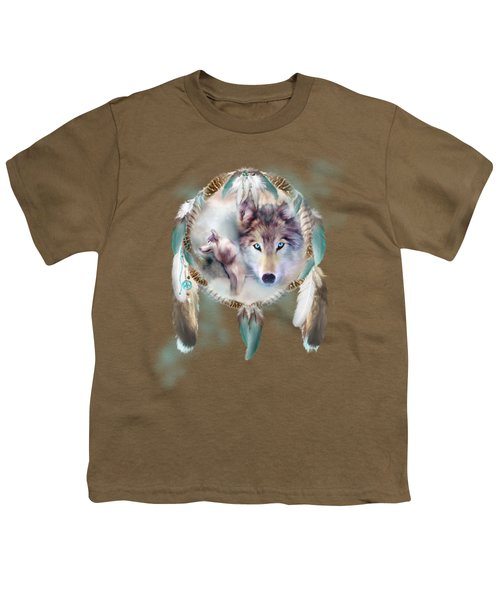 Wolf - Dreams Of Peace Youth T-Shirt by Carol Cavalaris