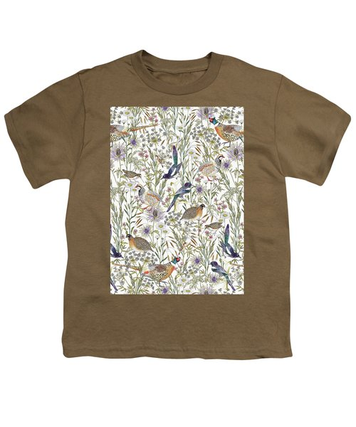 Woodland Edge Birds Youth T-Shirt by Jacqueline Colley