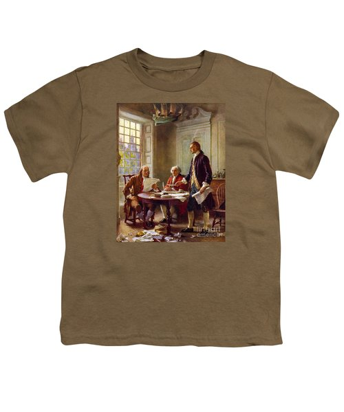 Writing The Declaration Of Independence, 1776, Youth T-Shirt by Leon Gerome Ferris
