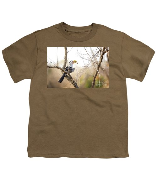 Yellow-billed Hornbill Sitting In A Tree.  Youth T-Shirt by Jane Rix