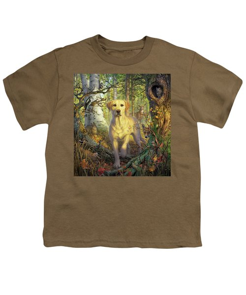 Yellow Lab In Fall Youth T-Shirt