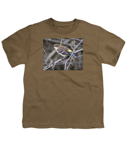 Youth T-Shirt featuring the photograph Yellow-rumped Warber In Fall Colors by Ricky L Jones