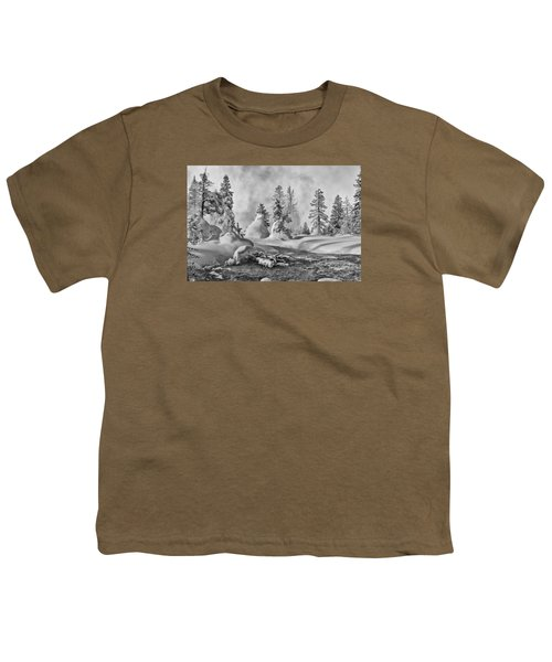 Youth T-Shirt featuring the photograph Yellowstone In Winter by Gary Lengyel