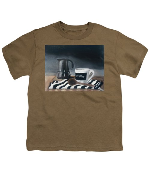 Youth T-Shirt featuring the painting Coffee Time by Fe Jones