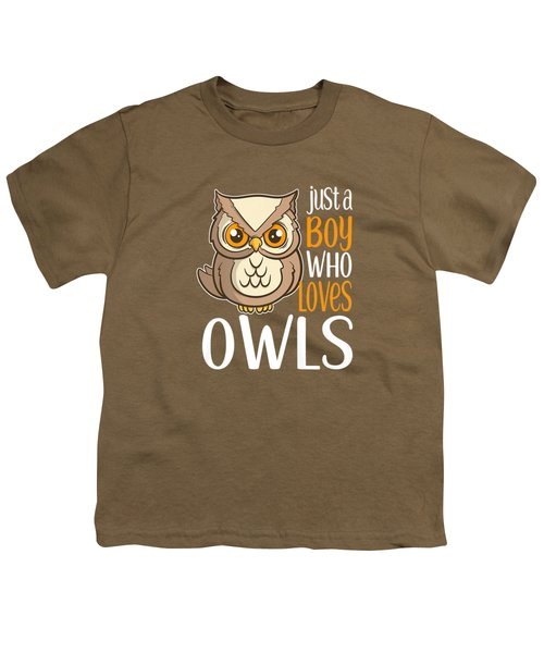 Just A Boy Who Loves Owls Cute Owl Gift Premium T-shirt Youth T-Shirt