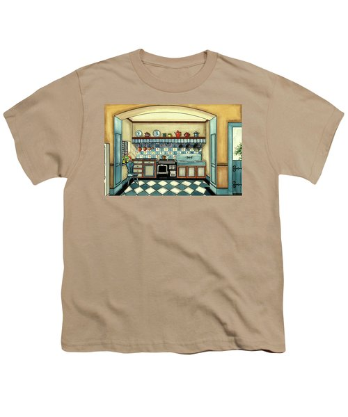 A Blue Kitchen With A Tiled Floor Youth T-Shirt