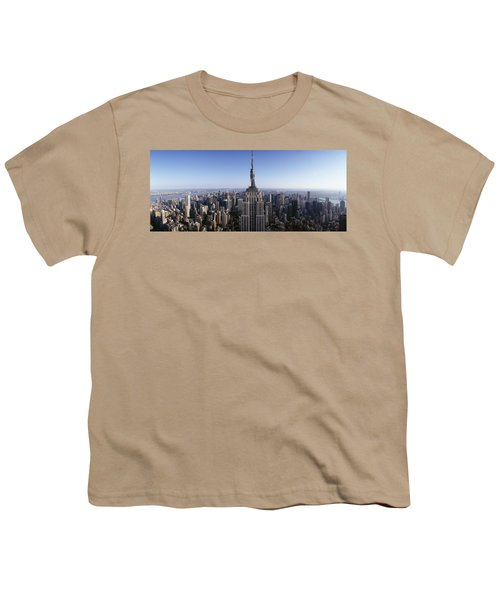 Aerial View Of A Cityscape, Empire Youth T-Shirt by Panoramic Images