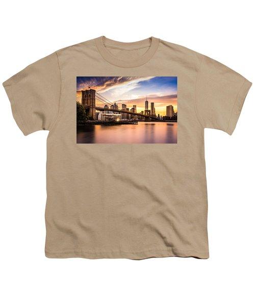 Brooklyn Bridge At Sunset  Youth T-Shirt