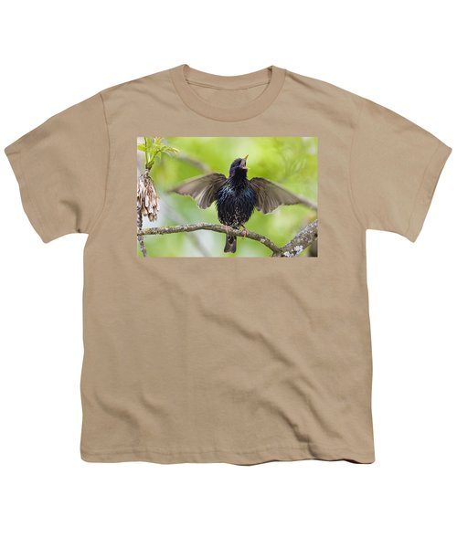 Common Starling Singing Bavaria Youth T-Shirt by Konrad Wothe