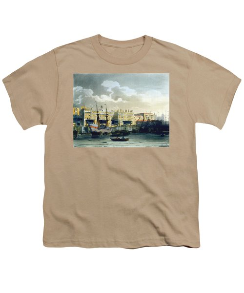 Custom House From The River Thames Youth T-Shirt by T. & Pugin, A.C. Rowlandson