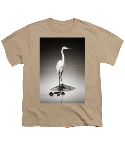 Great White Egret On Hippo Youth T-Shirt