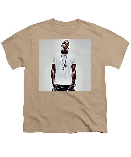 Jay-z Portrait Youth T-Shirt by Florian Rodarte
