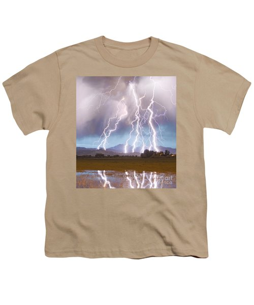 Lightning Striking Longs Peak Foothills 4c Youth T-Shirt