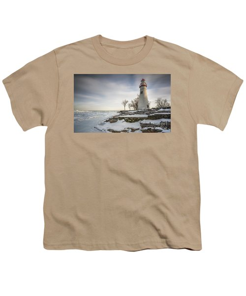 Marblehead Lighthouse Winter Youth T-Shirt by James Dean