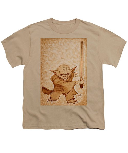 Youth T-Shirt featuring the painting Master Yoda Jedi Fight Beer Painting by Georgeta  Blanaru