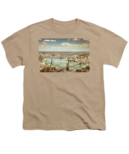New York City - Brooklyn Bridge And Manhattan Bridge From Above Youth T-Shirt by Vivienne Gucwa