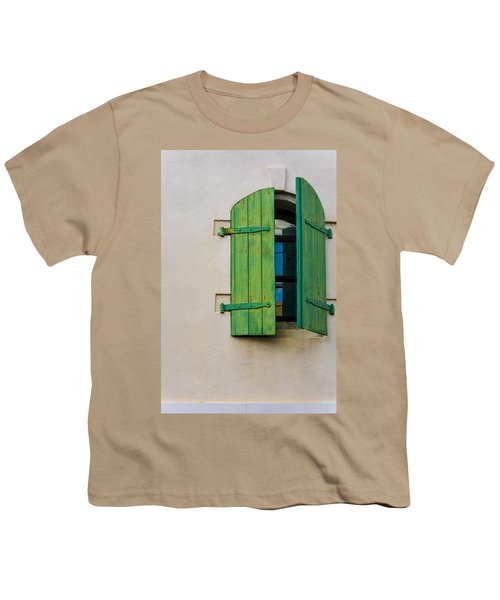 Old Green Shuttered Window Youth T-Shirt