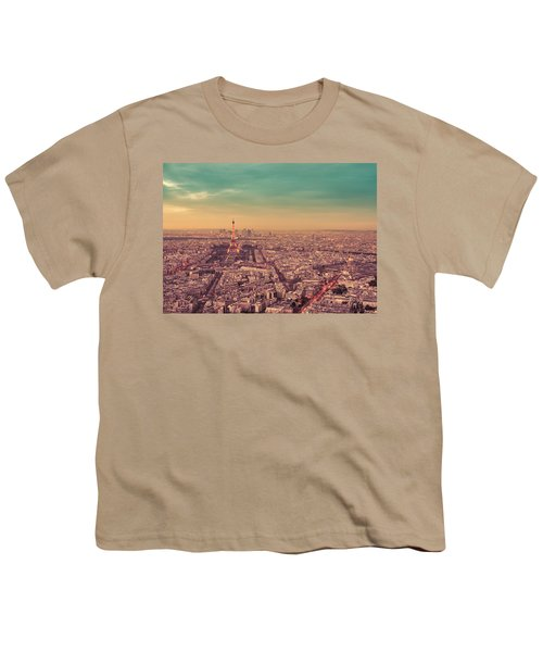 Paris - Eiffel Tower And Cityscape At Sunset Youth T-Shirt