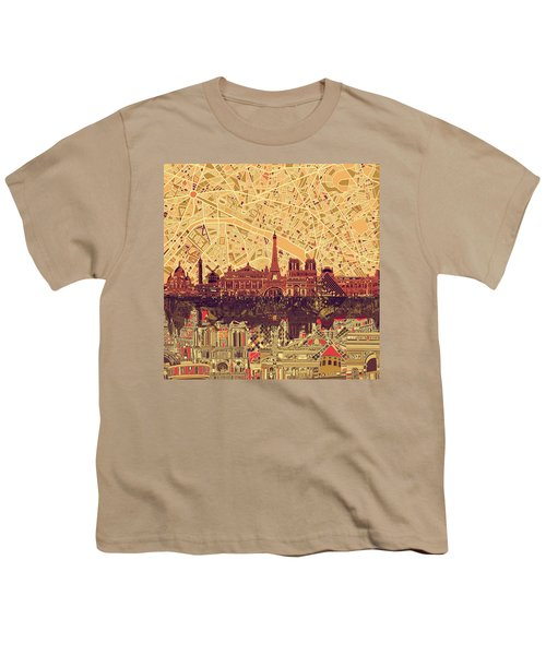 Paris Skyline Abstract Sepia Youth T-Shirt