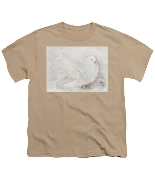 Peaceful Existence White On White Youth T-Shirt