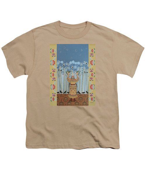 Youth T-Shirt featuring the painting Pondering Sacred Things - Manitoweyitamowin by Chholing Taha