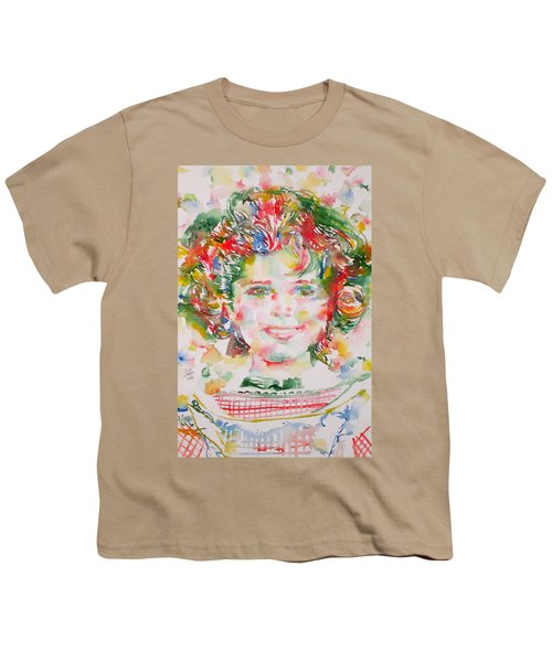 Shirley Temple - Watercolor Portrait.1 Youth T-Shirt by Fabrizio Cassetta
