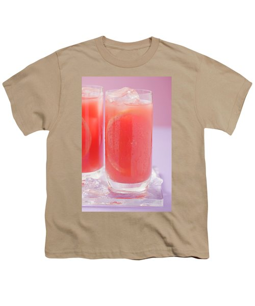 Two Glasses Of Pink Grapefruit Juice With Ice Cubes Youth T-Shirt