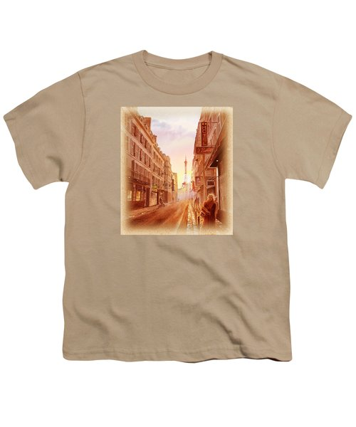 Youth T-Shirt featuring the painting Vintage Paris Street Eiffel Tower View by Irina Sztukowski