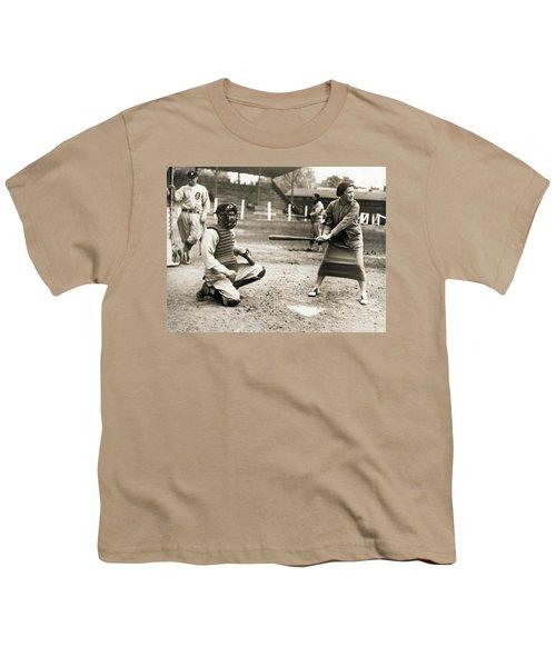 Woman Tennis Star At Bat Youth T-Shirt