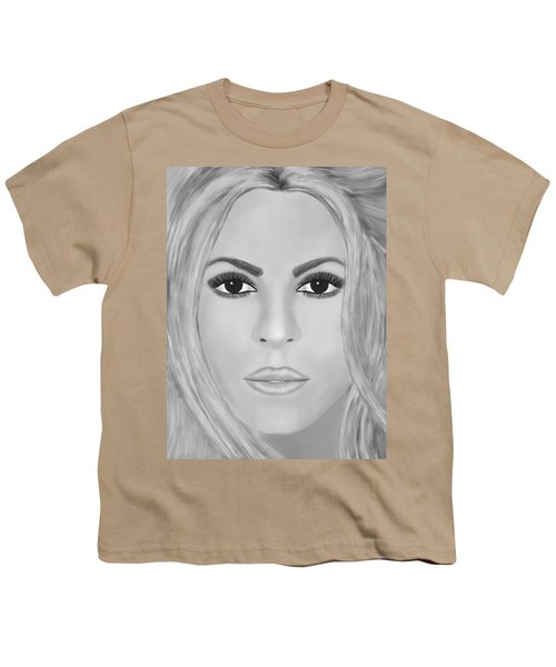 Shakira Black And White Youth T-Shirt by Mathieu Lalonde
