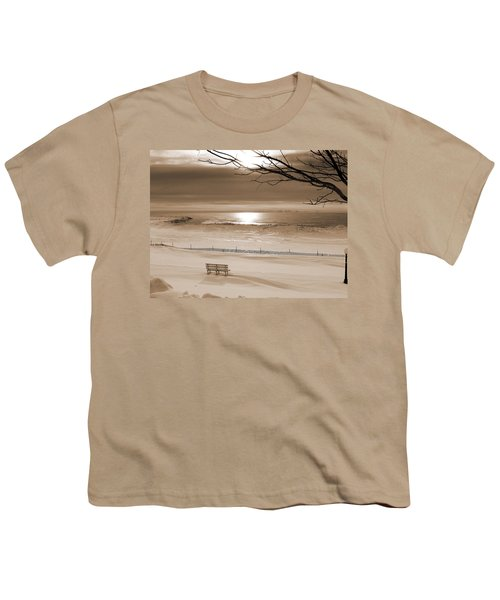 Winter Beach Morning Sepia Youth T-Shirt by Bill Pevlor