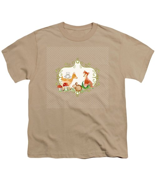 Woodland Fairytale - Animals Deer Owl Fox Bunny N Mushrooms Youth T-Shirt