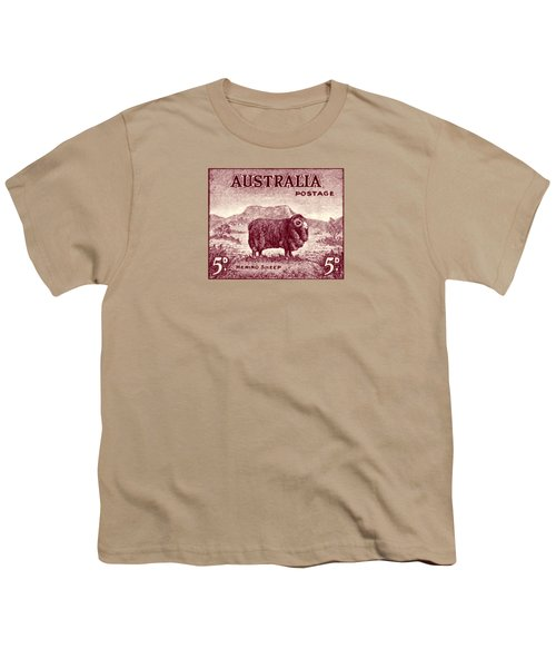 1946 Australian Merino Sheep Stamp Youth T-Shirt by Historic Image