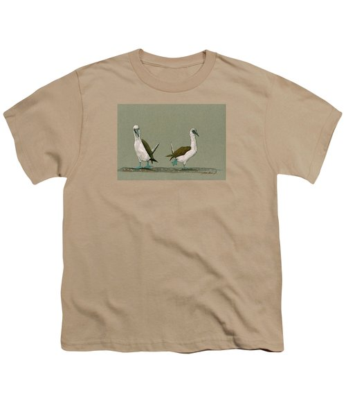 Blue Footed Boobies Youth T-Shirt by Juan  Bosco