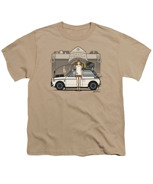 Honda N600 Rally Kei Car With Japanese 60's Asahi Pentax Commercial Girl Youth T-Shirt