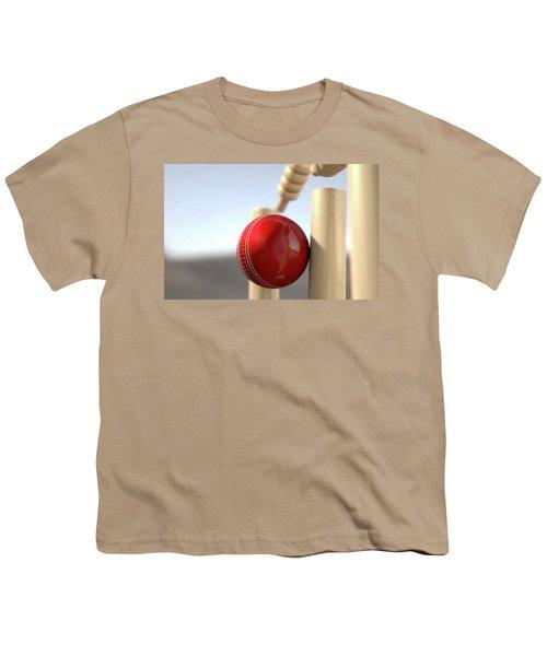 Cricket Ball Hitting Wickets Youth T-Shirt