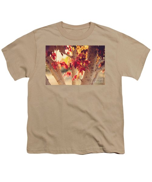 Youth T-Shirt featuring the photograph A Warm Red Autumn by Linda Lees