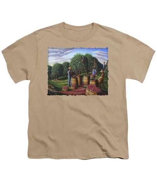 Apple Harvest - Autumn Farmers Orchard Farm Landscape - Folk Art Americana Youth T-Shirt